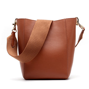 Cowhide Split Leather Bucket Bag  Goat texture moooden