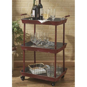 3 tiered red rolling cart - Little Prairie Girl