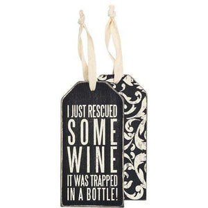 Bottle Tag - Rescued wine - Little Prairie Girl