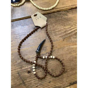 Brown and black horn necklace - Little Prairie Girl