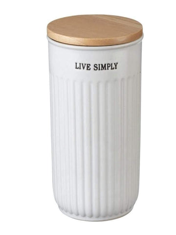 "Rounder ""Live Simply"" Canister with Wood Lid - Little Prairie Girl"