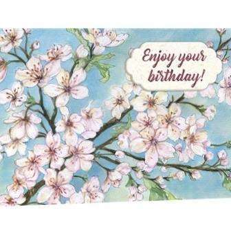 Cherry blossoms on blue birthday card - Little Prairie Girl