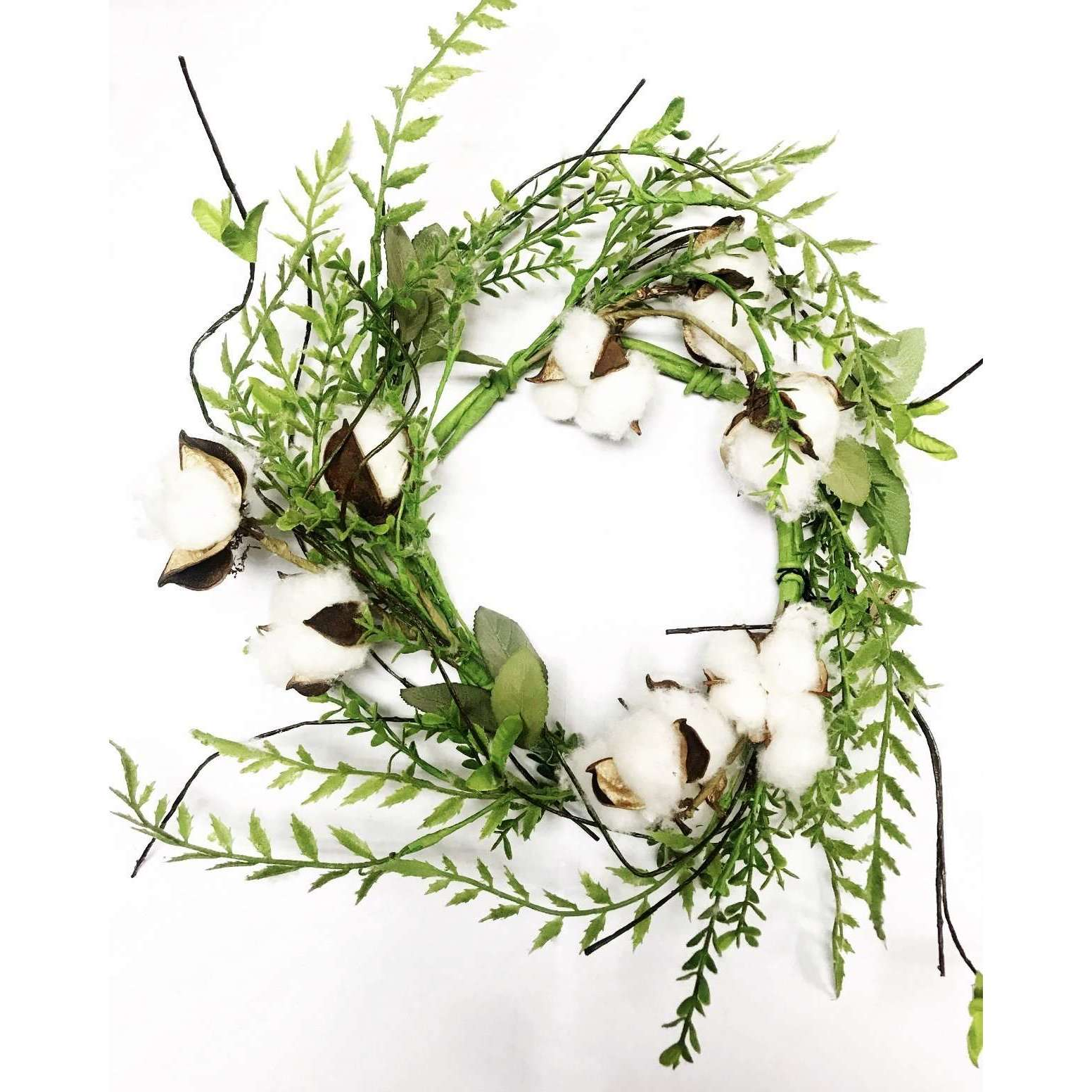 Cotton & Foliage Mix Wreath - Little Prairie Girl