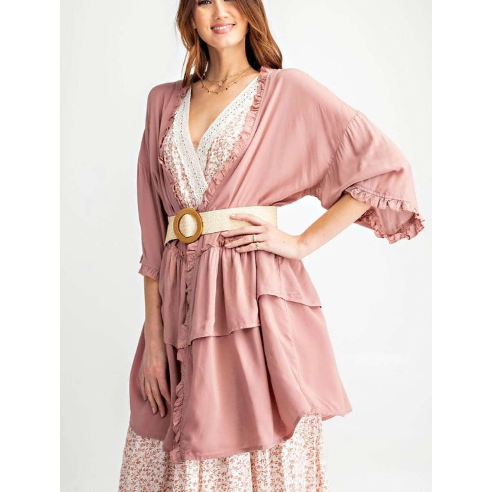 Double layered pink half sleeve kimono - Little Prairie Girl