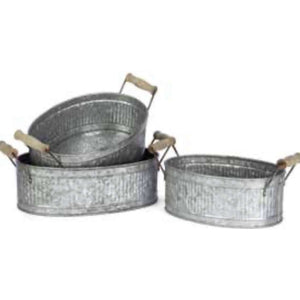 Galvanized Metal Oval Caddy With Wood Handles - Little Prairie Girl