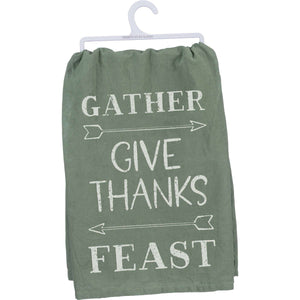 Gather - Give Thanks - Feast Dish Towel - Little Prairie Girl