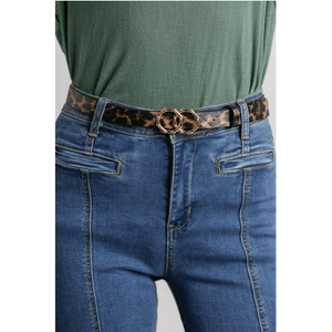 Gold Buckle Leather Belt - Little Prairie Girl