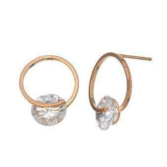 Gold Circle with CZ Stone Earrings - Little Prairie Girl