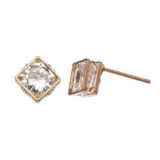 Gold Diamond Frame Stud Earrings - Little Prairie Girl