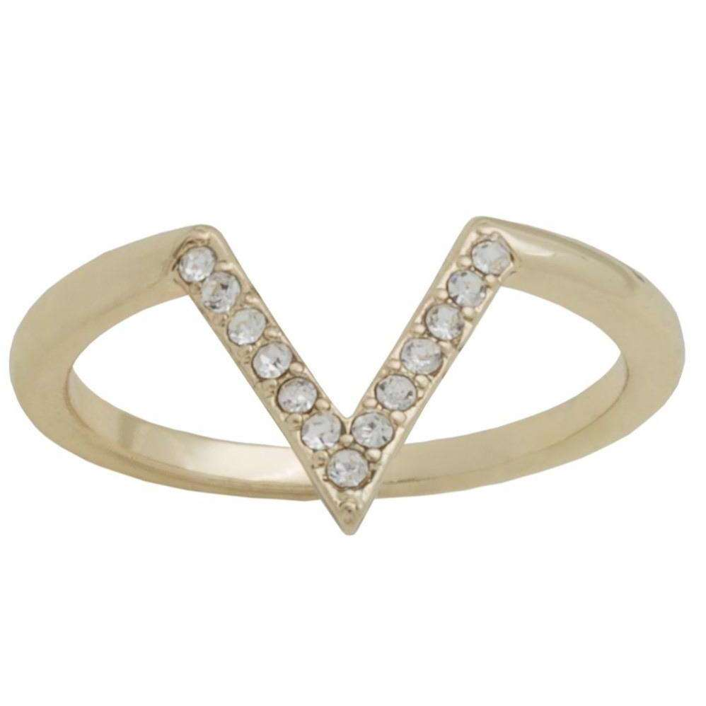Gold Plated CZ V Stackable Ring - Little Prairie Girl