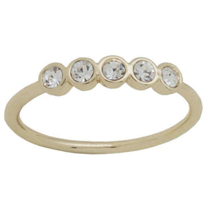 Gold Plated Five CZ Stackable Ring - Little Prairie Girl