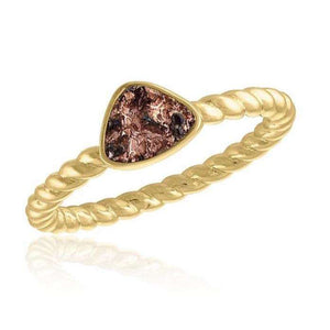 Gold Plated Pink Champagne Triangle Druzy Stackable Ring - Little Prairie Girl