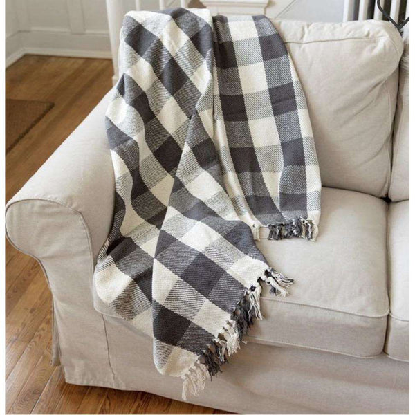 Gray and Cream Buffalo Check Throw Blanket - Little Prairie Girl