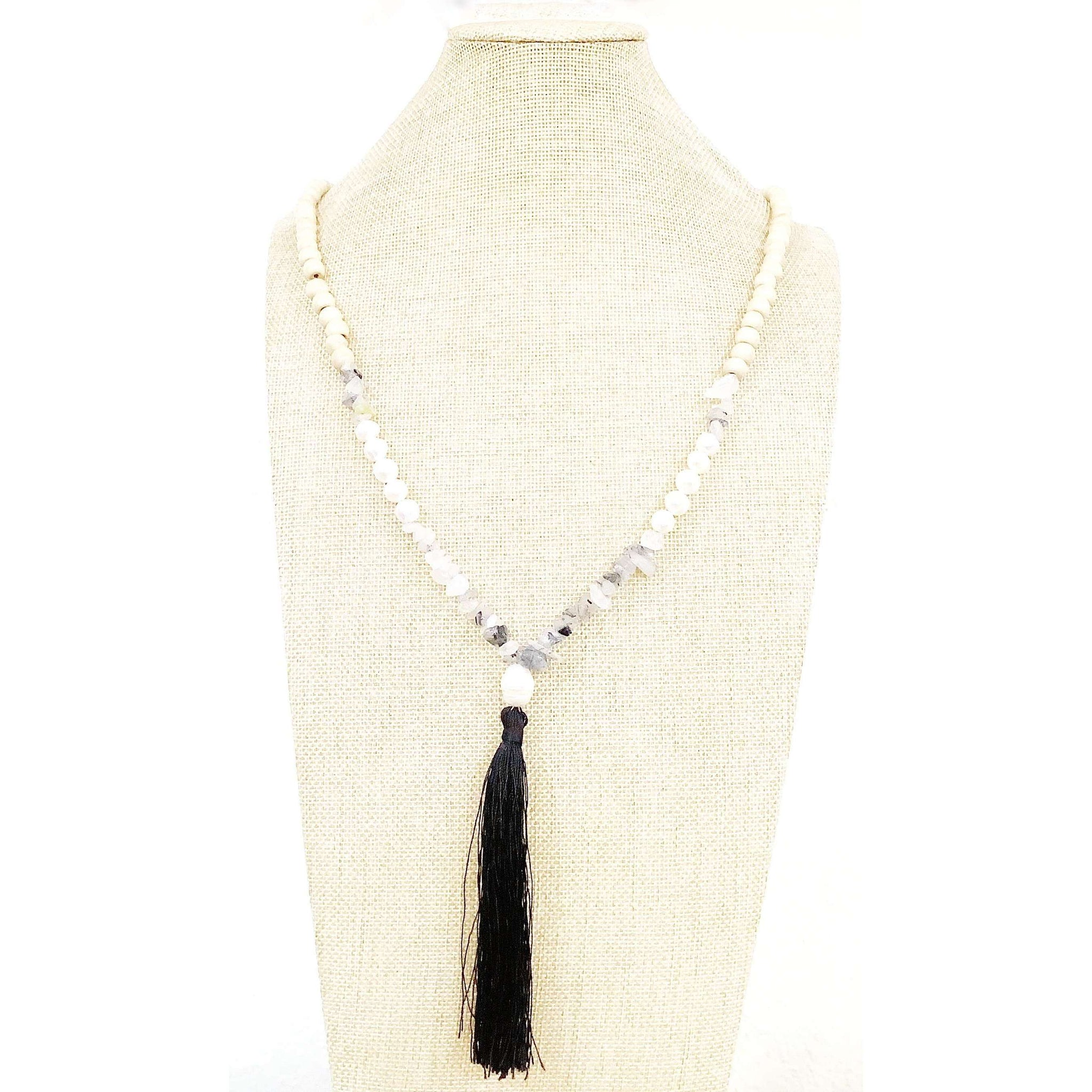 Gray and pearl with black tassel necklace - Little Prairie Girl