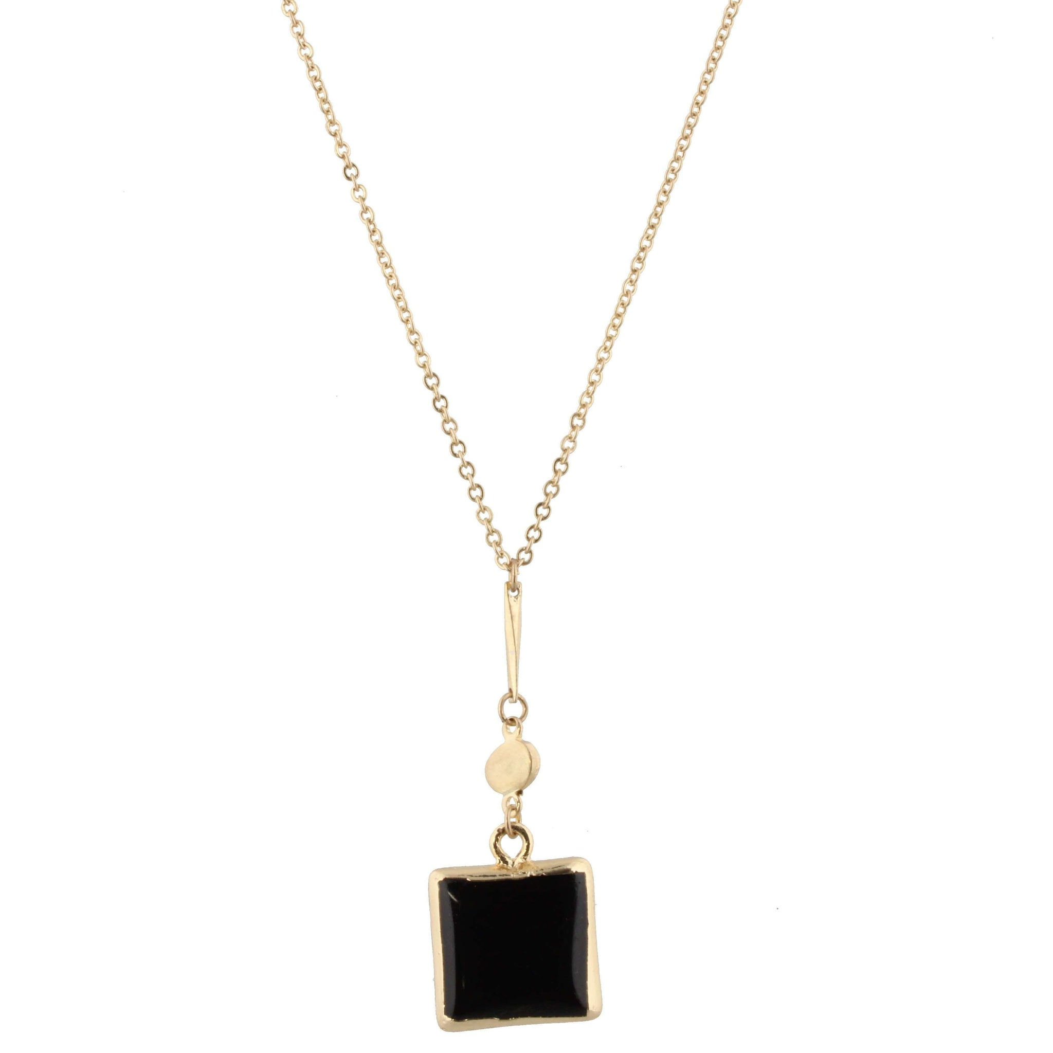 Jet square stone drop necklace - Little Prairie Girl