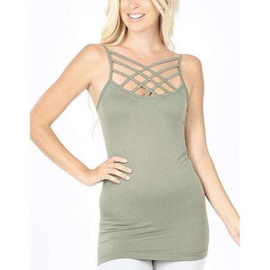 Light Olive Criss Cross Cami - Little Prairie Girl