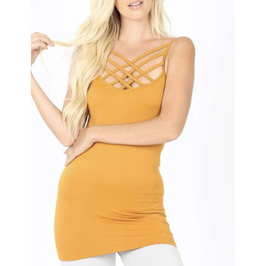 Mustard Criss Cross Cami - Little Prairie Girl
