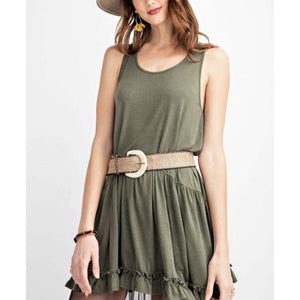 Olive Sleeveless Double Layered Ruffled Tank - Little Prairie Girl