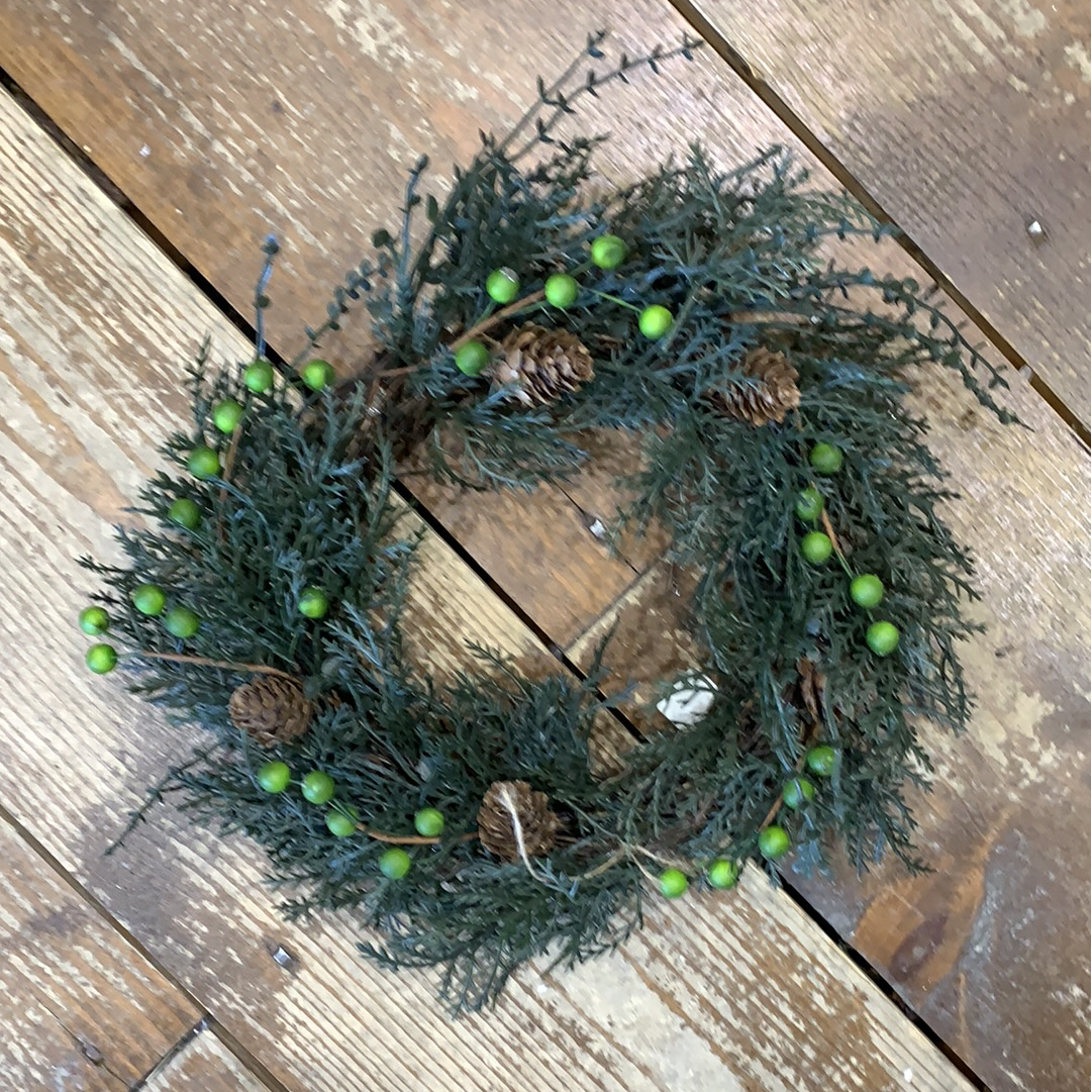 Pine Wreath with Pinecones and Green Berries
