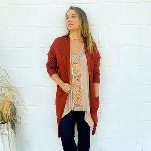 Rust Duster Cardigan with Pockets - Little Prairie Girl