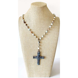 Rustic cross necklace with multicolored stones - Little Prairie Girl
