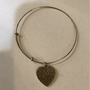 Silver Bangle with Heart Charm - Little Prairie Girl