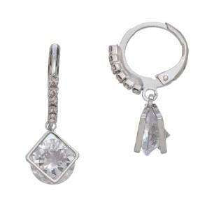 Silver Diamond Shaped Hoop Earrings - Little Prairie Girl