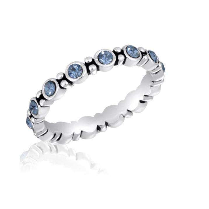 Silver Plated Blue CZ Round Infinity Stack Ring - Little Prairie Girl