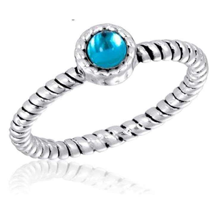 Silver Plated Blue CZ Round Twist Stack Ring - Little Prairie Girl