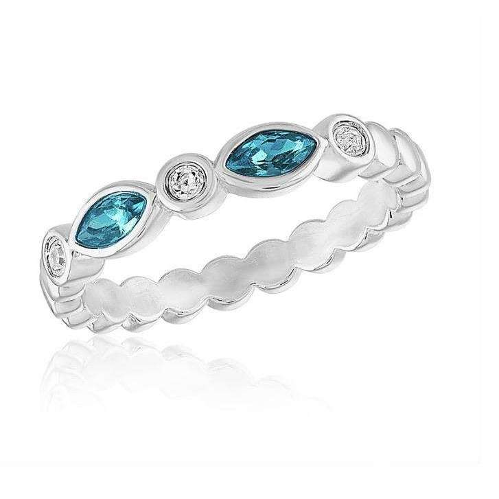 Silver Plated Blue Diamond Endless Oval Stack Ring - Little Prairie Girl