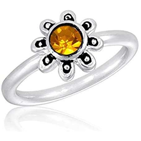 Silver Plated CZ Amber Flower Stack Ring - Little Prairie Girl