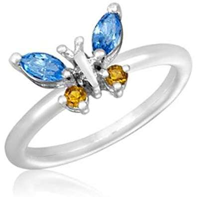 Silver Plated CZ Butterfly Stack Ring - Little Prairie Girl
