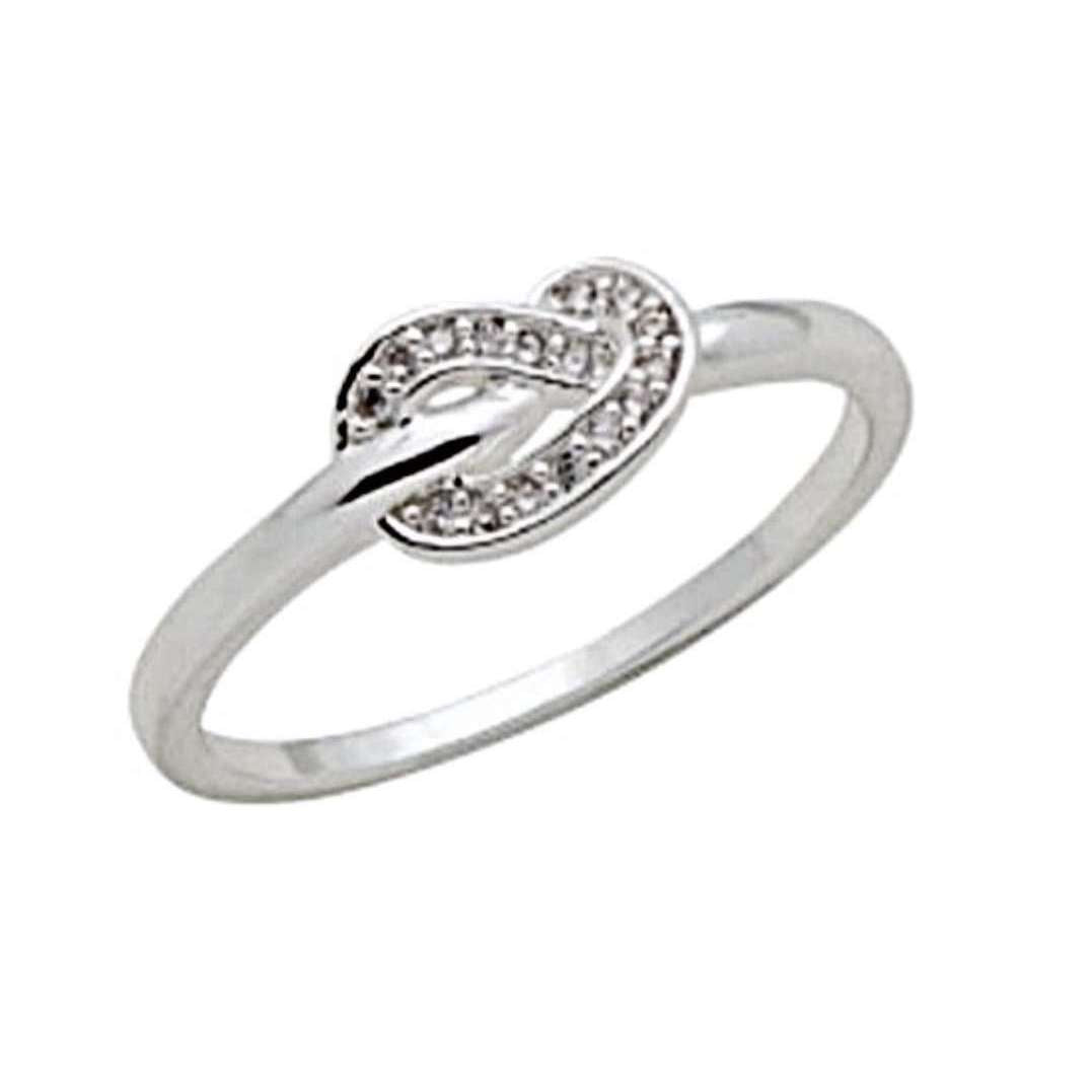 Silver Plated CZ Knot Stack Ring - Little Prairie Girl