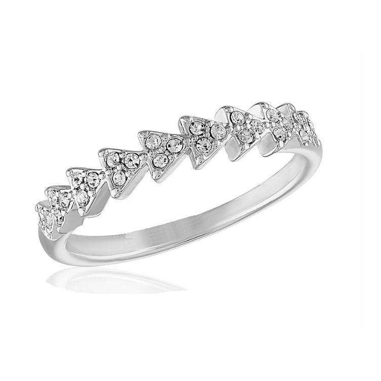Silver Plated CZ Triangle Infinity Stack Ring - Little Prairie Girl