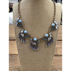Gold Necklace with Blue Stones and Gray Gems - Little Prairie Girl