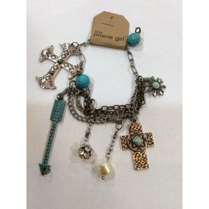 Vintage Charm Bracelet With Cross & Arrow - Little Prairie Girl