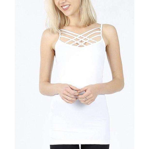 White Criss Cross Cami - Little Prairie Girl