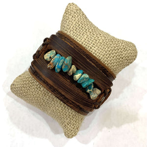 Wide Leather Cuff with Turquoise Stones - Little Prairie Girl