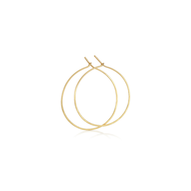 MEDIUM HAMMERED HOOPS - YELLOW GOLD