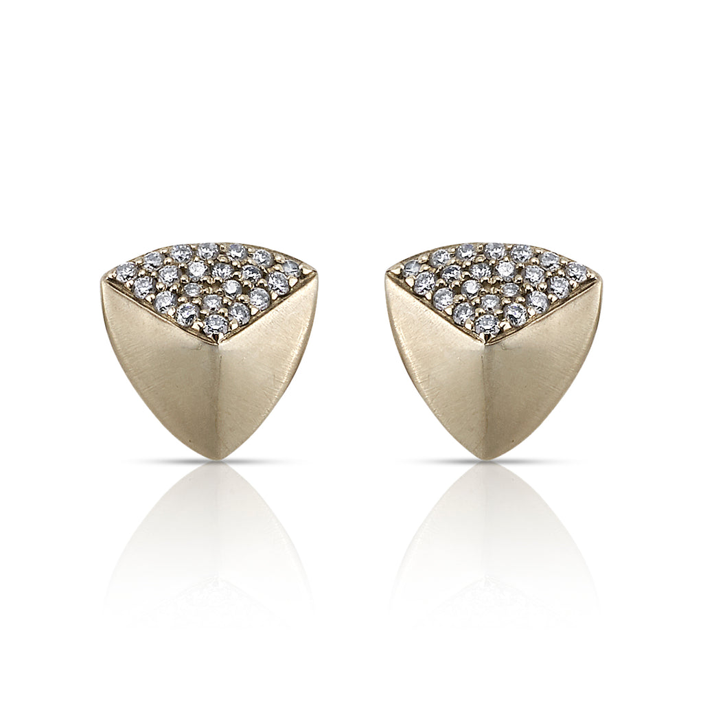 MONIQUE PEAN TRIANGLE STUD EARRINGS WITH WHITE DIAMONDS