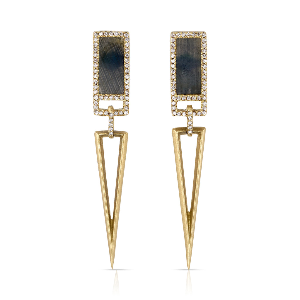 MONIQUE PEAN SPECTROLITE & WHITE DIAMOND OPEN LINK EARRINGS