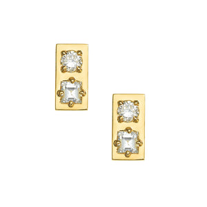 JEMMA WYNNE DIAMOND RECTANGLE BAR STUDS
