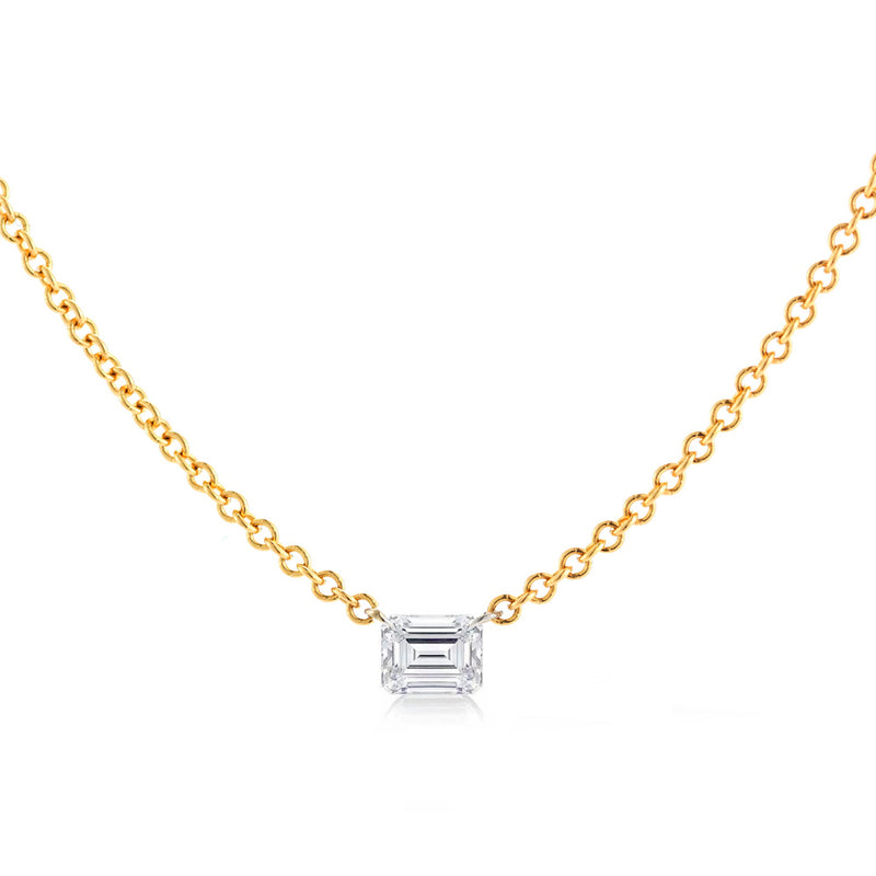 EMERALD CUT DIAMOND SOLO NECKLACE