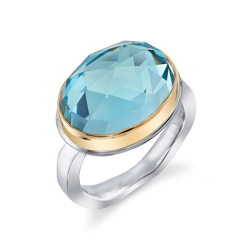 SKY BLUE TOPAZ RING ON MEDIUM LIVE EDGE BAND