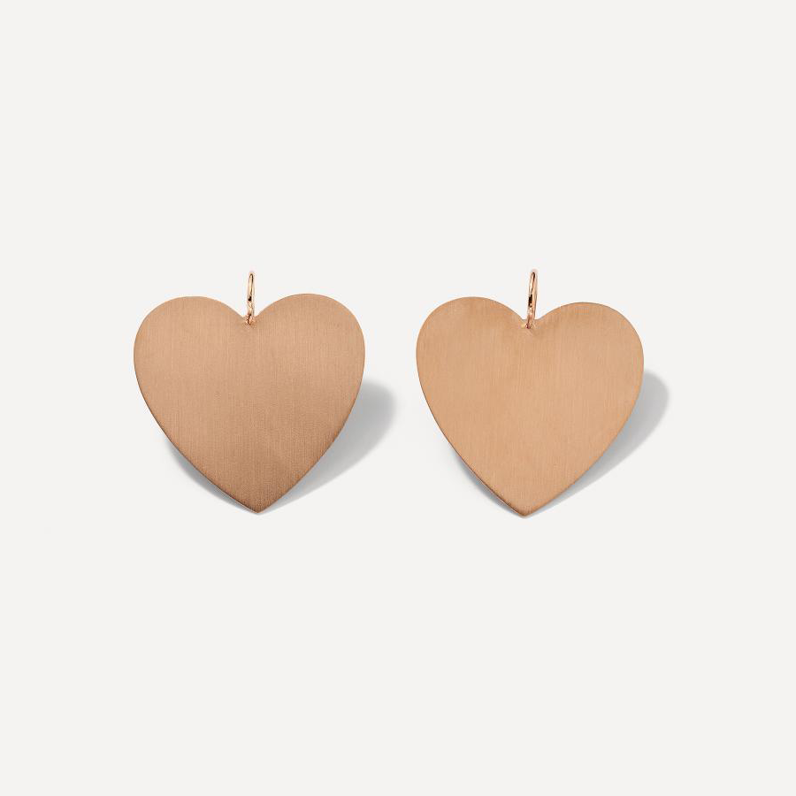 LARGE FLAT GOLD HEART EARRINGS