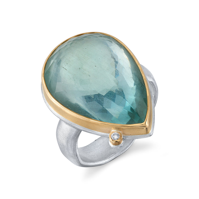 TEARDROP AQUAMARINE RING ON GROOVY BAND