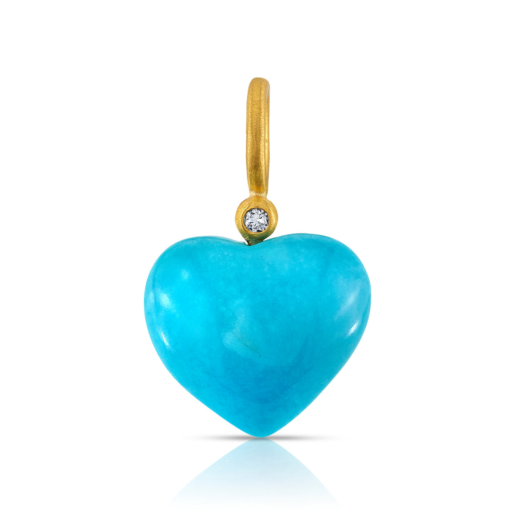 LARGE PUFFY TURQUOISE HEART PENDANT