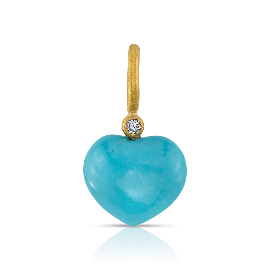 SMALL PUFFY TURQUOISE HEART PENDANT