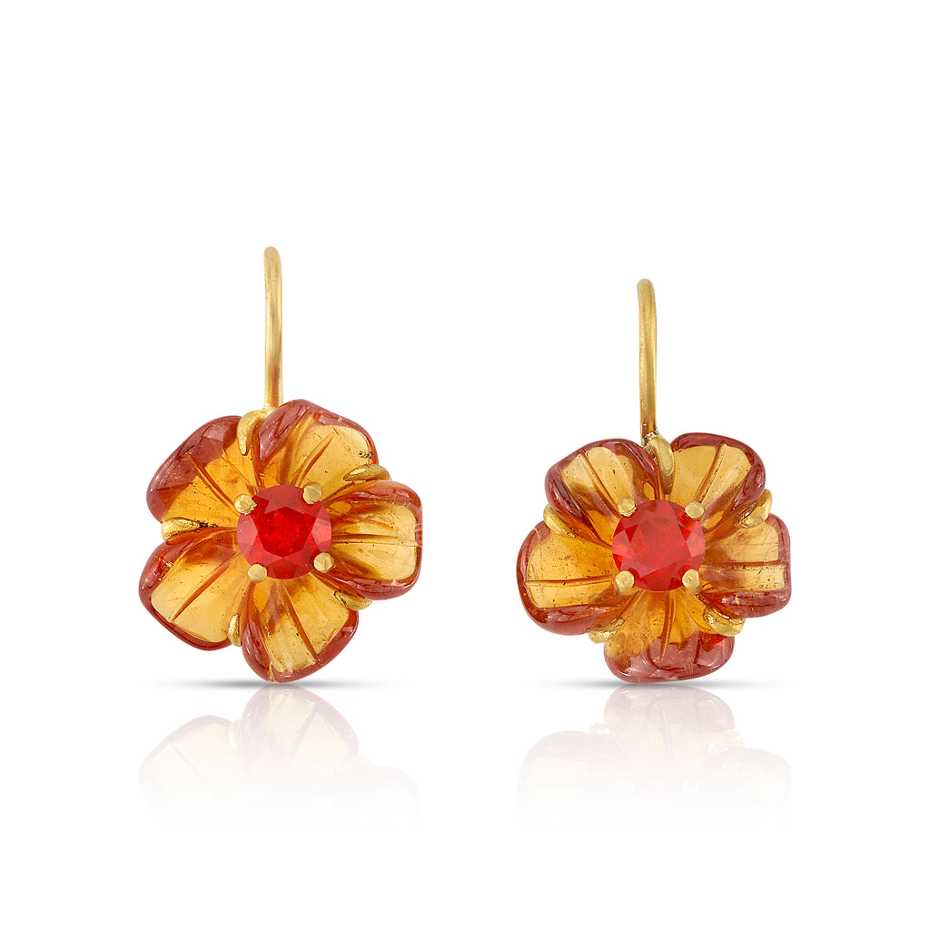 MANDARIN GARNET AND FIRE OPAL CARVED FLOWER EARRINGS