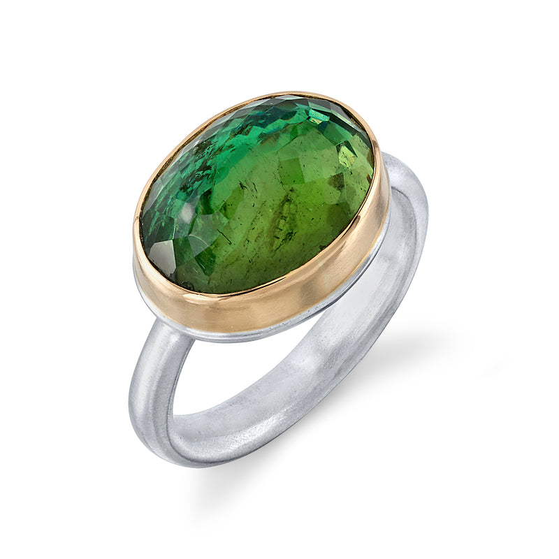 GREEN TOURMALINE RING ON EGYPTIAN BAND